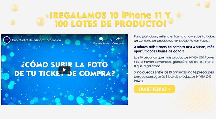 Nivea ofrece 10 lotes de productos para iPhone 11 y 100