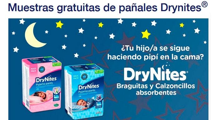 Muestras gratis en casa de pañales Drynites