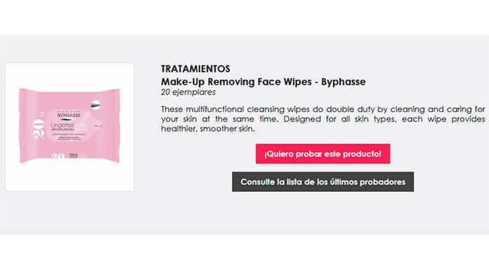Prueba las toallitas desmaquillantes Byphasse gratuitas