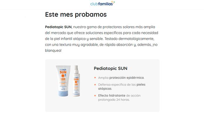 Club Familias ofrece una prueba gratuita de Pediatopic SUN